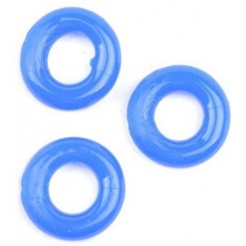 Lot de 3 Cockrings Donut 15mm Bleu